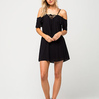 MIMI CHICA Cold Shoulder Lace Up Dress | Short Dresses