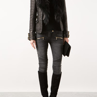 BALMAIN QUILTED LEATHER AND FUR JACKET