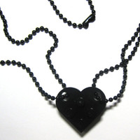 "BFF Heart Necklace Set - Made of LEGO Bricks - 24"" Black Dog Tag Style Ball Chain Friendship Set - 2 necklaces"