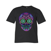 Trendy Teen Clothes. Purple Punk Skull Shirt. Black Cotton Tshirt Small Medium Large Youth Boy Girl. Day of the Dead rocker tee