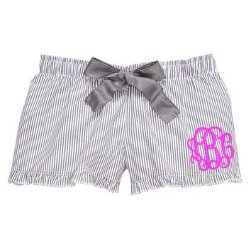 Grey Monogrammed Seersucker Ruffle Pajama Lounge Shorts  Font shown INTERLOCKING in Bright Pink