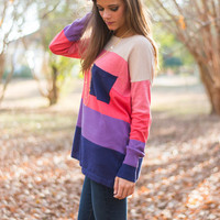 Colorblock Pocket Sweater, Navy-Purple