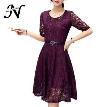 Elegant Women Lace Dresses 2016 New Fashion Summer Dresses Korean Style Casual Ladies Dresses Gray Pink Purple Chemise Femme