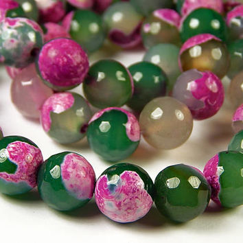 15 Inch Strand - 12mm Faceted Multicolor Fire Agate Beads - Gemstone Beads - Jewelry Supplies