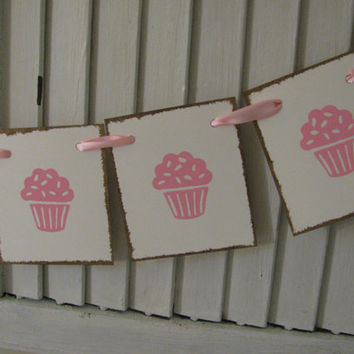 Cupcake Banner Cupcake Theme Garland Bunting Pink Cupcakes or You Choose the Color(s)
