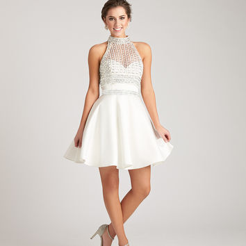 Madison James 17-111 Beaded Halter Top Homecoming Cocktail Dress
