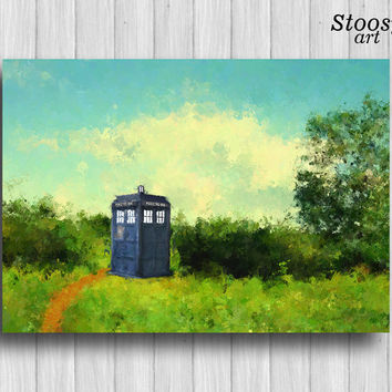 Tardis print doctor who wall art tardis watercolor painting