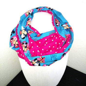 Minnie Mouse Mickey Infinity Scarf - turquoise Cotton Cowl  Disney Cartoon Circle Scarf - Women Teen Pre-teen Girl Present hot pink, Text Me