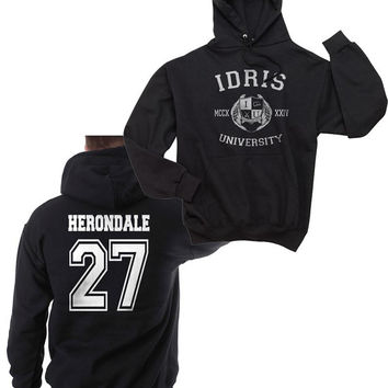 Herondale 27 Idris University Unisex Hoodie S to 3XL Black