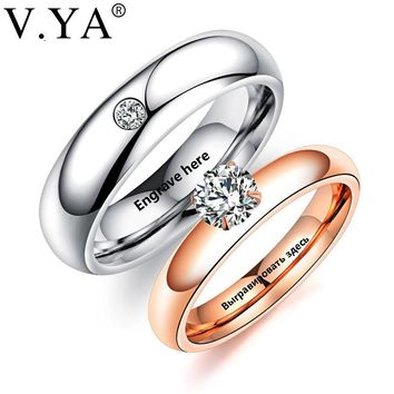 V.YA Romantic DIY Custom Rings For Lover Stainless Steel Crystal Couple Rings For Engagement Party Jewelry Wedding Band Dropship