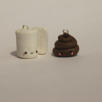 Poop and Toilet Paper Polymer Clay Charm
