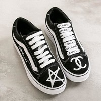 VANS Chanel Casual Shoes Men And Women White Cloth Shoes