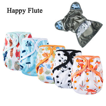 Happy Flute Diaper Cover, One Size Cloth Diaper, Waterproof Breathable PUL Reusable Diaper Covers for Baby,  Fit 3-15kg Baby