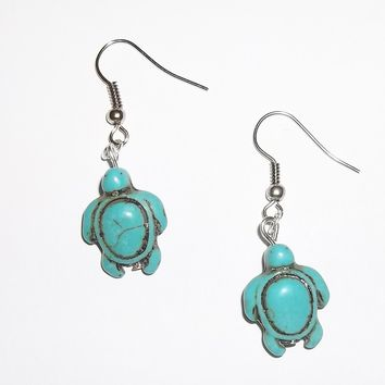 Turquoise Sea Turtle  Silver Tone Dangle Earrings