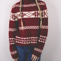 Vintage Winter Nordic Snowflake Sweater