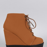 Bamboo Lug Sole Wedge Bootie
