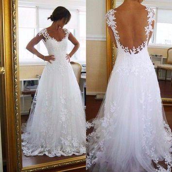 Vestido de noiva Lace Beach Wedding Dress 2016 Custom Made Vestidos de novia See Through Back Appliques Wedding Gowns