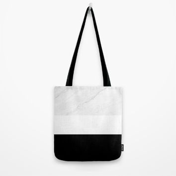 Marble Black White Tote Bag by ARTbyJWP