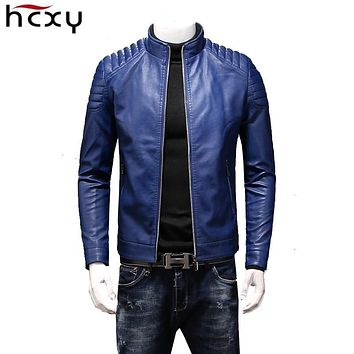 HCXY 2019 Autumn Men's Leather Jackets Coats Men Outwear High quality PU Leather Windproof Waterproof Slim Fit College Luxury