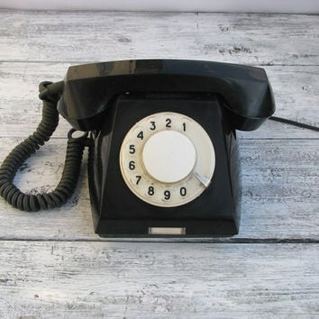 Vintage Black Rotary Phone - Made in USSR in 1980 - Home Decor