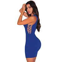 Blue Ribbed Open Lace up Sides Dress