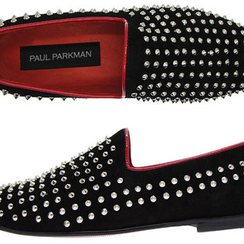 Paul Parkman Men's Studded Slipper Shoes Spiked Black Suede Upper & Leather Sole