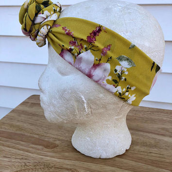 Mustard yellow rose knot headband-Easter Scarf Headband-Floral Flower Newborn Baby Head Wrap-Toddler Kid's Hair Accessories-Baby Shower Gift