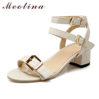Meotina Shoes Women Summer Sandals Open Toe Thick Heels Buckle Strap Women Shoes Gladiator Sandals Black Beige Plus Size 10 43