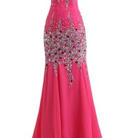 Uniqueen 2015 Mermaid Sweetheart Floor Length Chiffon Prom Gowns with Beading