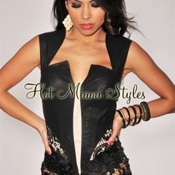 Black Faux Leather Nude Mesh Lace Padded Bodysuit - Inspired by Beyonce