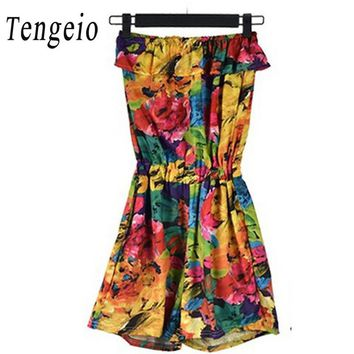 Tengeio Summer 2017 New Sexy Women Flora Playsuit Strapless off shoulder bodycon Floral Jumpsuit Ruffle Boho Tropical Romper SJM
