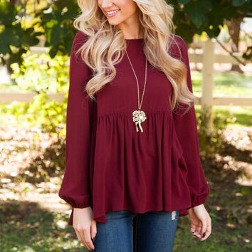 Allure Lace Up Top - Burgundy