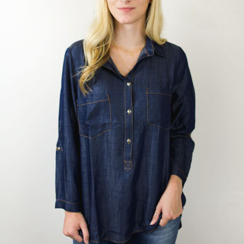 Dark Denim Button Up Blouse