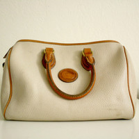 Vintage Dooney and Bourke All Weather Leather Bone and Tan Handbag Purse Tote from R+E