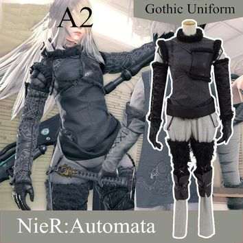 Anime! Game NieR:Automata A2 Gothic Uniform Cosplay Costume Fashion Custom-made Any Size