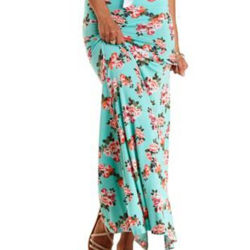Floral Print Double Slit Maxi Skirt