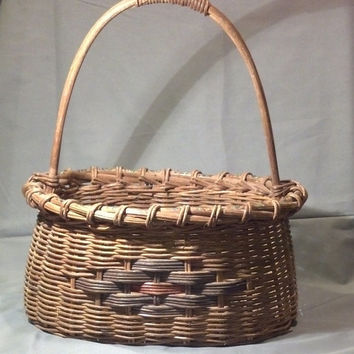 Collectible Vintage Basket- Large Handcrafted Antique Basket - Cottage Chic, Farmhouse, Country Decor - Gift Idea Just Fill it With Goodies!