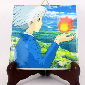 Sophie and Calcifer from Howl's moving Castle Ceramic Tile - Handmade Studio Ghibli Hayao Miyazaki Anime Manga Japan Mod.3