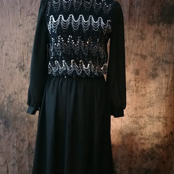 Vintage 70s 80s Dress Black Sheer Sequin Accented Evening Cocktail Dress