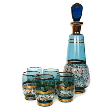 Mid Century Decanter Set, Turquoise, Blue, Gold, Bar Glasses, Whiskey Shots
