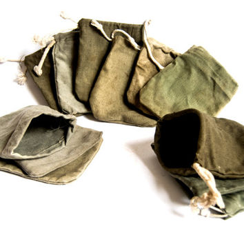 Vintage military small bag, 11pcs vintage canvas bags, military canvas bags.