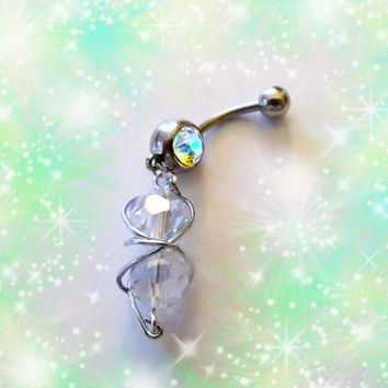 SALE-Belly Ring, Wire Meshed Double Shimmery Swarovski Crystal, Belly Button Ring, Entwined In Wire, Belly Button Jewelry For the Holidays