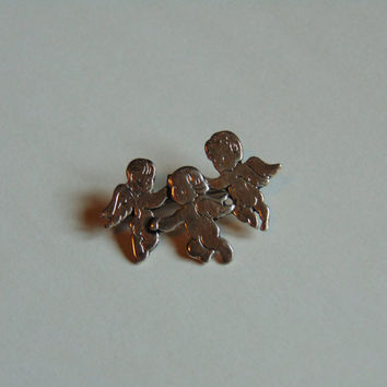 Three Winged Cherub Angels Brooch Lapel Pin Signed PD Premier Designs