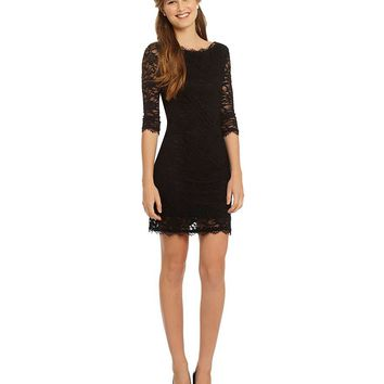 Jump Eyelash Lace Illusion 3/4-Sleeve Sheath Dress | Dillards