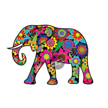 Elephant Car Decal Floral Colorful Bumper Sticker Laptop Decal Pink Green Teal Yellow Jungle Flowers