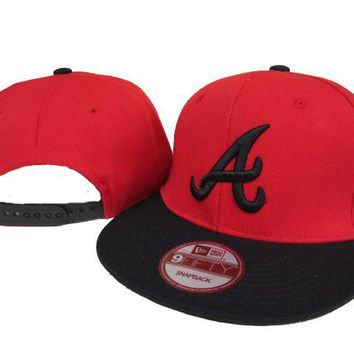 hcxx Atlanta Braves New Era MLB 9FIFTY Hat Red-Black