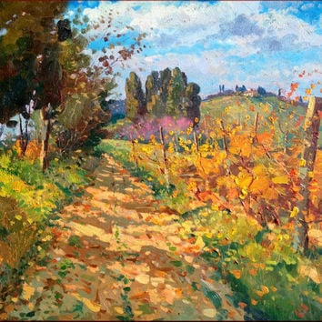 Italian painting country path vineyard Tuscany original of Agostino Veroni Italy - Quadro Toscano con vigneto