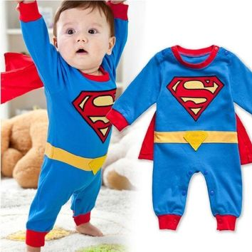 PEAPIX3 Baby Boy Romper Superman Long Sleeve with Smock Infant Cartoon Halloween Christmas Costume Gift Children Kids Autumn = 1946248004