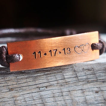 MENS COPPER BRACELET engraved letters bracelets, custom bracelet personalized jewelry, men bracelet personalized, anniversary bracelet heart