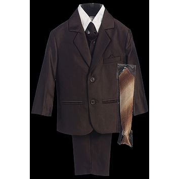 Brown Herringbone Weave Complete Dress Suit 6m-14